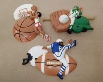Vintage Set of 3 Sports Wall Hanging Plaques