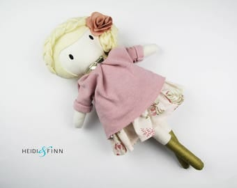 LIMITED EDITION Golden Holiday Large Mini Pals soft rag doll keepsake gift OOAK ready to ship gold floral pink