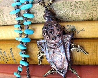 Unusual jewelry, long western steampunk necklace, strange and unique jewelry, bronze and turquoise western sci fi necklace THE NEW SHERIFF