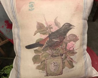 Grain Sack Pillow Cover   Orchard Oriole   By Gathered Comforts
