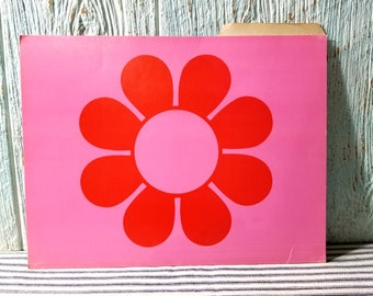 Flower Power Mod File Folder, Mid Century Retro Bright Pink Psychedelic Manila, Hot Pink and Red 1960s