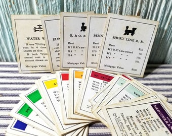 Vintage Monopoly Property Utility & Railroad Cards, Classic Game Ephemera for Art and Crafting