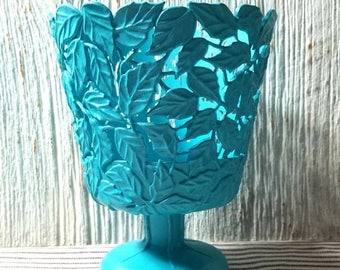 Yearly Big Sale: Repurposed, Upcycled Vintage Flower Pot Stand, TURQUOISE Vase, Vintage FTD Floral Supply, Leaf Motif Retro Syroco