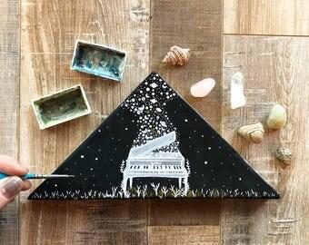 Original Painting// Magnolias and moonlight // repurposed wood triangle