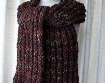 HAND Knit Fisherman's Rib Oversized Super WARM Soft Scarf in BROWN Sequoia Soft Acrylic Lamb Wool / Brioche knit scarf
