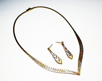 """Sterling Silver Tri Color Necklace & Pierced Earrings Set - Signed 925 Italy 16""""  Silver, Gold and Rose Gold Tones - Vintage 1980's Era"""