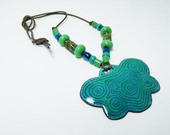 Boho Enamel Pendant & Beaded Necklace - Green Gemstone Beads - Millefiori Trade Beads - Signed Elizabeth Dasch Vintage 1970s - Oregon Artist