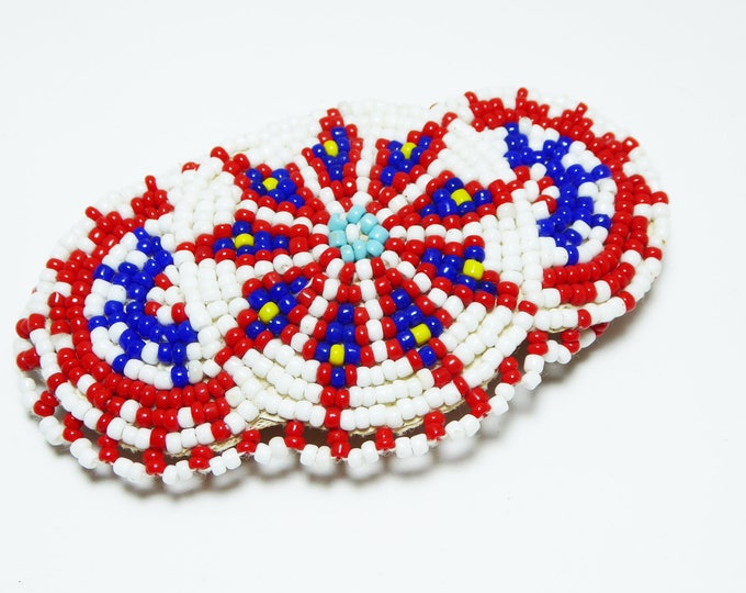 Southwestern Oval Beaded Hair Clip - Native American Indian Hair Ornament, Red White Blue Beads, Scalloped Edges - Vintage 1970s Barrette