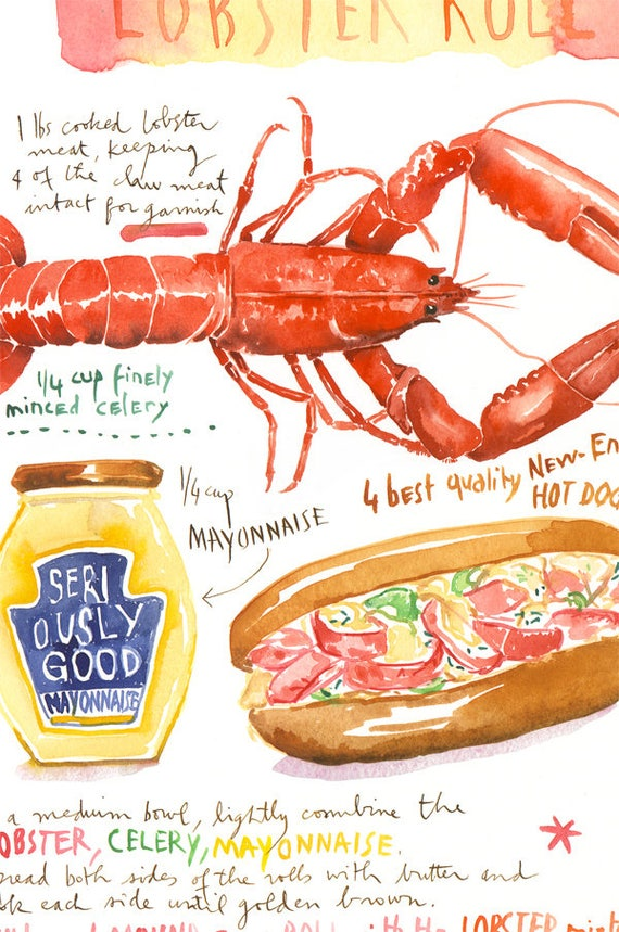 Classic Maine Lobster Roll Recipe Print, Food Poster, Kitchen Art, Food  Art, Sandwich Painting, Maine Art, Watercolor Seafood, Kitchen Decor