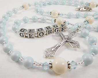 NEW! Personalized Rosary in Pale Blue and Ivory - Baptism or Christening Gift for a Baby Boy