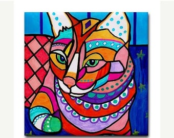 45% Off Today- Ginger Cat Folk Art Print on Colorful Ceramic Cat Tile