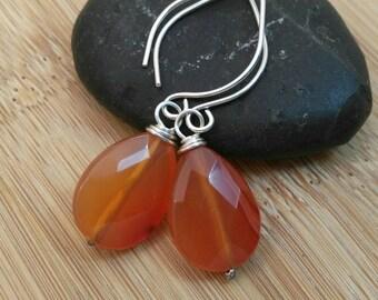 Carnelian Earrings. Orange Gemstone Briolettes. Oxidized Sterling Silver Earrings. Natural Stone Jewelry. Rustic Earrings. Southwestern.