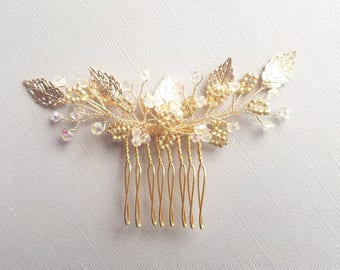 Wedding Hair Comb, Gold Lead Hair Piece, Bridal Hair Pin, Gold Hair Accessory, Wedding Hair Accessory, Beaded Hair Comb, Bridal Headpiece