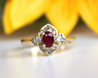 Ruby Engagement Ring, Vintage inspired ring,  Diamonds Halo, Red Ruby Ring, Oval ruby ring,  Original Design