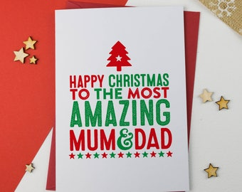 Mum and Dad Christmas Card | Mum & Dad Card | Card for Mum | Card for Dad | Mum Christmas Card | Dad Christmas Card | Card for Parents