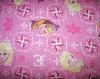 FROZEN Fabric, Cotton Fabric, 1 Yard, Pink frozen fabric, frozen glitter fabric, glitter fabric, pink glitter fabric, anna, elsa, fabric