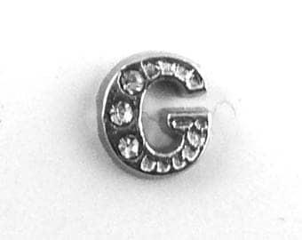 1pcs Alphabet Letter G Charm - Silver Floating Locket Rhinestone Bead Supply - Tiny Flat Scrapbook Card Making Embellishment Nail Art B84