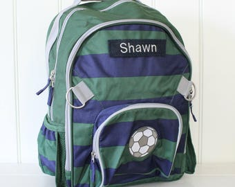 Small Backpack with Monogram Pottery Barn (Small Size) --Navy/Green Rugby Stripe with Soccer Ball