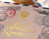 "PRIVATE LISTING for Svati - 100 Postcards or wedding invitations -  16PT white silk laminated matte stock - Metallic rose-gold foil 5""x7"""