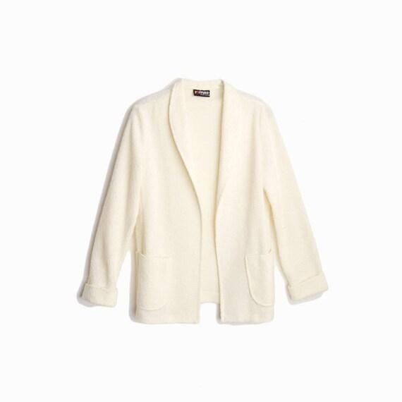 Vintage Ivory Boucle Sweater Jacket / Cream Boucle Cardigan Jacket - women's medium
