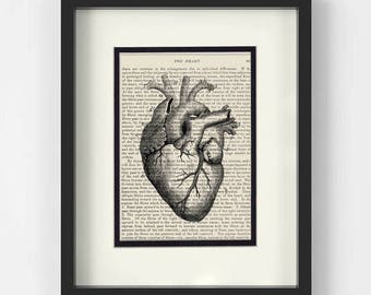 Vintage Heart Illustration over Vintage Medical Book Page - Cardiology, Cardiologist Gift, Medical Student Gift, Doctor Gift, Heart Surgeon