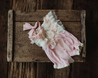Pre-order.  Baby Pink romper set , sitter size