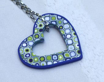 Large heart pendant necklace in green and purple, polymer clay millefiori, squares, silver chain
