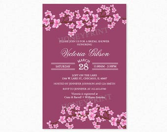 Cherry Blossom Bridal Shower Invitation, Floral Bridal Shower Invitations, Burgundy, Pink, Printable or Printed