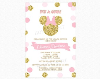 Pink and Gold Minnie Mouse Baby Shower Invitation, Gold Minnie Mouse, Gold Glitter, Polka Dot, Girl, Printable or Printed