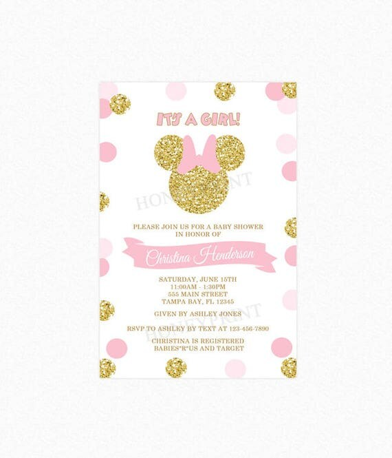 Minnie mouse baby shower invitation pink and gold polka dots girl il570xn filmwisefo