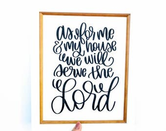As for me & my house, we will serve the Lord // Home Decor // Printable