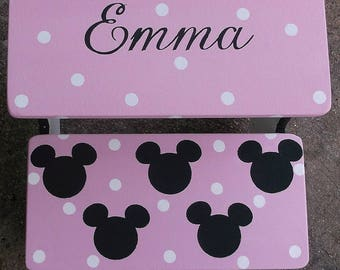 Benches, Time Out, Steps & Stools, PINK Minnies Dots, Benches, Personalized, Bathroom Stool, Pink Black, Personalized