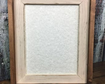 11 x 14 Rustic Picture Frame, Cream Rustic Weathered, Stacked And Stained, Rustic Home Decor, Rustic Wood Frame, Wooden Frame, Handmade