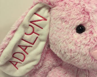 PINK Large Embroidered and Personalized Plush Easter Bunny