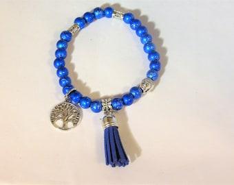 Sapphire Blue Stretchy Yoga Bracelet with Buddha Head