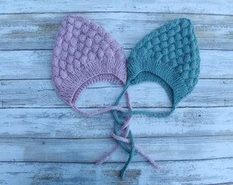 Bobble Pixie Bonnet. Retro Baby Bonnet. Pink Baby Pixie Hat. Seafoam Baby Pixie Hat.