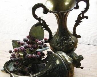 Vintage Brass Floral Repousse Italian Vases Set of Two Urns. Flora Motif, Fluted, Ornate, double handle, Mantle vases, Home decor