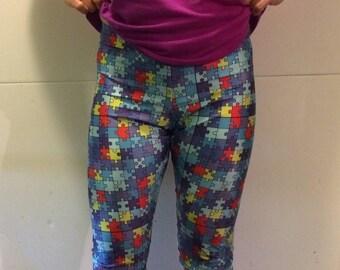 Puzzle pieces spandex leggings
