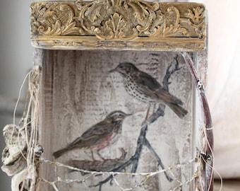 FRENCH Bird Nesting Box, Vintage wood, BOWER Bird, French Ephemera, Shadow box, Theatre, Jeanne d Arc Living style