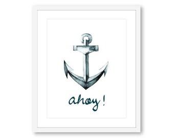 Anchor Print, Anchor Wall Art, Nautical print, Nautical Decor, Nautical Wall Art, Ahoy print, ahoy wall art, Beach House Decor