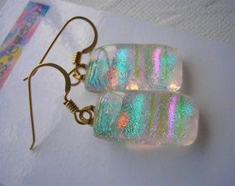 Butterfly Wing Iridescent Earrings, Dichroic Fused Glass Earrings, .925 Sterling Silver, Women's Earrings, Dangle Drop, Aqua Pink Green