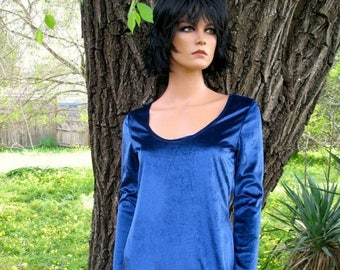 ELECTRIC SAPPHIRE  This is a gorgeous  Velvet grunge dress from the 1990s Never Worn Size Small