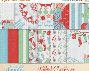 80% Off SALE Digital paper, knitted Christmas pattern Papers, Digital Scrapbook paper pack, Instant download, 12 Digital Papers