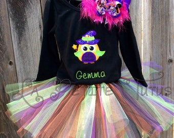 Halloween shirt, owl witch shirt, Halloween owl, witch owl, halloween costume, toddler shirt, girls shirt, girls onepiece, fall shirt