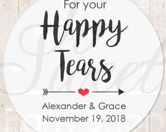 Happy Tears Stickers, Wedding Favor Stickers, Tissue Sticker, Wedding Labels, Tears Of Joy Stickers, Wedding Tears Labels - Set of 24