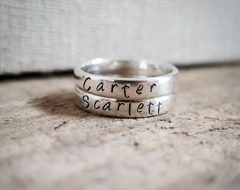 Stacking Rings - Set of 2 Hand Stamped Rings - Sterling Silver by Betsy Farmer Designs