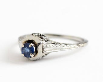 Vintage 18k White Gold .24 CT Genuine Sapphire Filigree Solitaire Ring - Art Deco Size 6 1/2 1930s Fine Engagement Blue Gemstone Jewelry