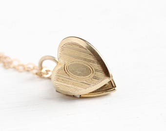 Vintage 12k Yellow Gold Filled Petite Heart Locket Necklace - 1950s Retro Dainty Small Pendant Charm Layering Women's or Children's Jewelry