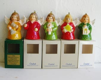5 Vintage Goebel Annual Angel Bell Christmas Tree Ornaments 1986 1987 1988 1989 1990