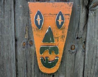 OCTOBER, Tiki Man, Wood Sculpture, Tiki Mask, JackOLantern
